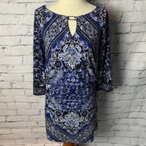 WHBM Dress Size Medium 3/4 Sleeves Black Blue